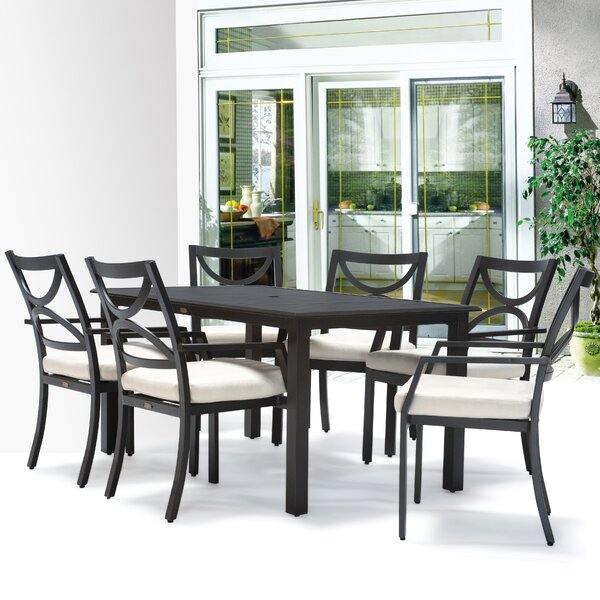 Verona 7 Piece Dining Set with Cushions by Meadow Decor