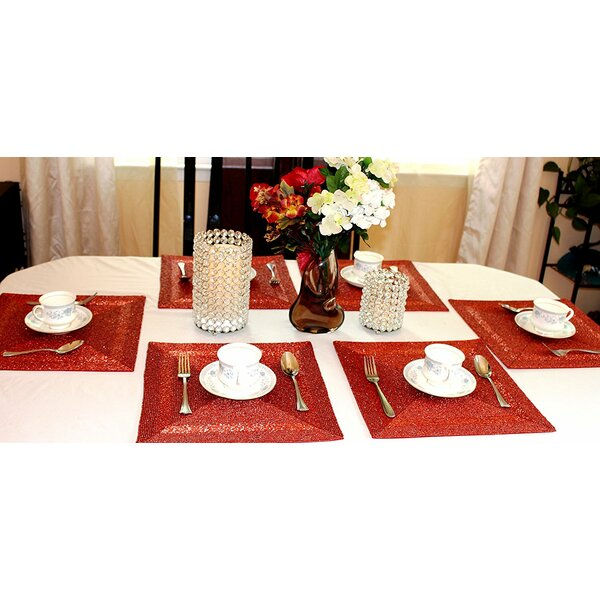 Red Glass Beads Placemat (Set of 6) by GARIAN