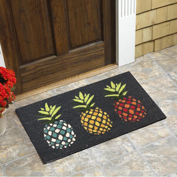 Terwood Pineapples Vinyl Backed Coir Doormat by Bay Isle Home
