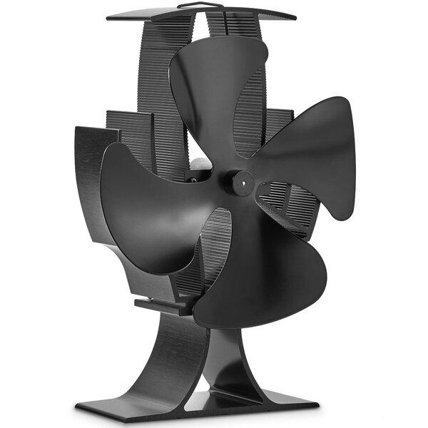4 Blade Heat Single Panel Wood Burning Eco Stove Fan by VonHaus