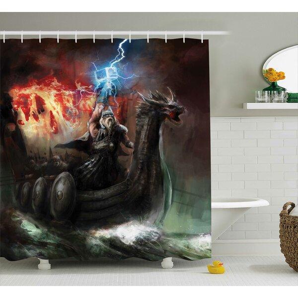 Fantasy World Lightning Wrath Shower Curtain by Ambesonne