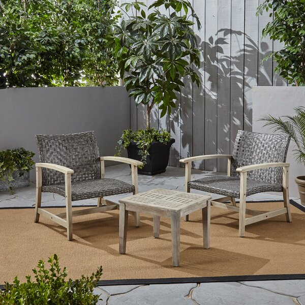 Warford Outdoor 3 Piece Rattan Seating Group By Bungalow Rose