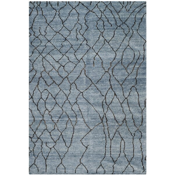 Moroccan Hand-Knotted Blue/Black Area Rug by Safavieh