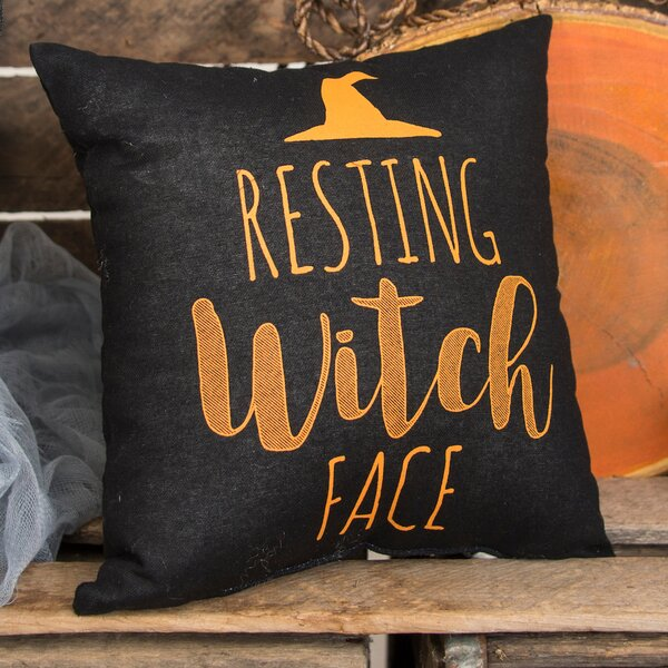 Resting Witch Face Halloween Throw Pillow by C&F Home
