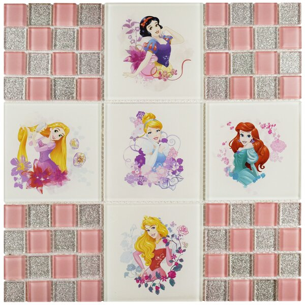 Disney Princesses Random Sized Glass Mosaic Tile in Glossy Pink by EliteTile