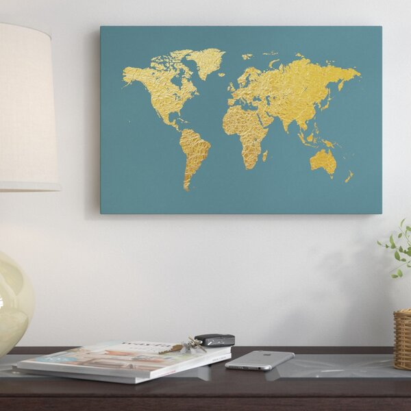 World Map Series: Gold Foil On Ocean Blue Graphic Art on Wrapped Canvas by East Urban Home