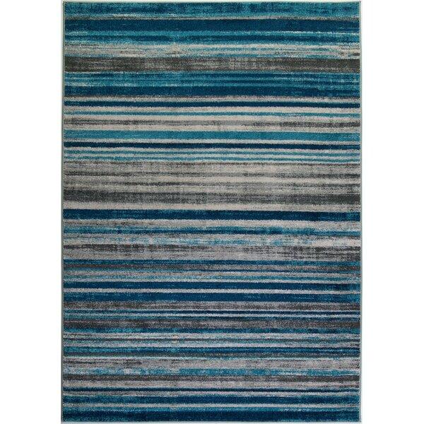 Crossett Stripes Teal/Gray Area Rug by Ebern Designs