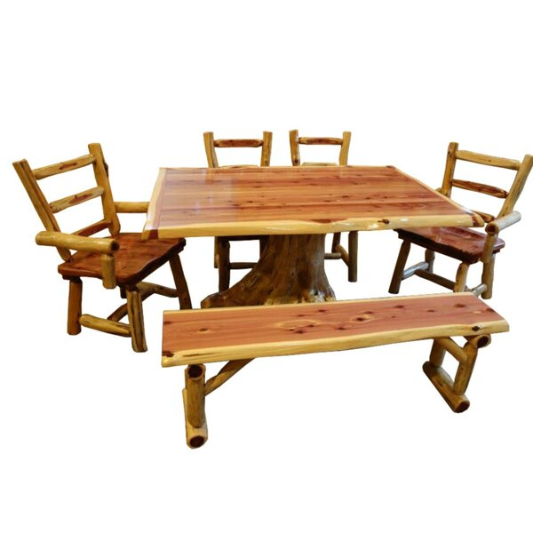 GrangeoverSands 6 Piece Solid Wood Dining Set by Loon Peak Loon Peak
