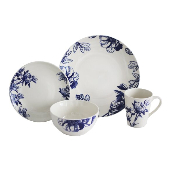 Botanical 16 Piece Dinnerware Set, Service for 4 by Baum