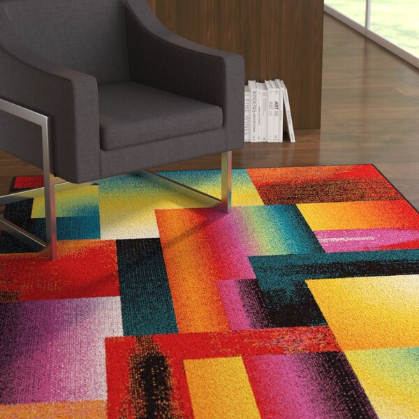 Weisman Red/Yellow Area Rug by Latitude Run