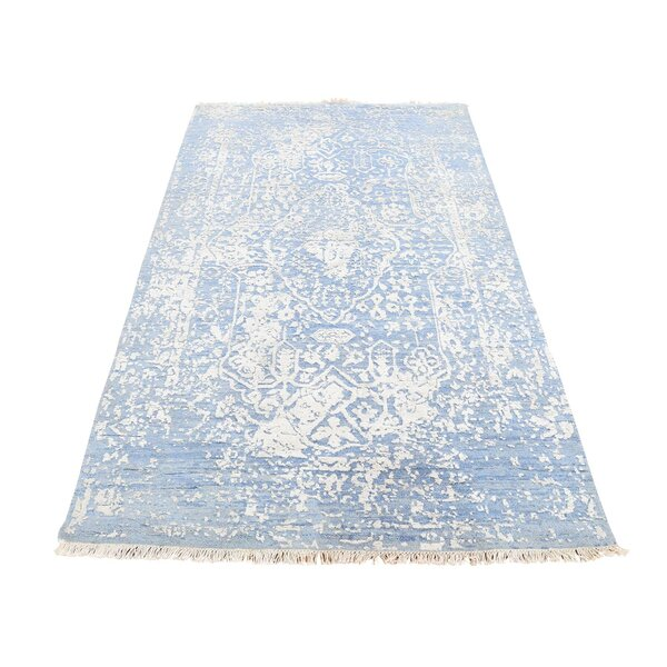 One-of-a-Kind Hardaway Broken Persian and Pure Oriental Hand-Knotted Silk Blue Area Rug by Bungalow Rose