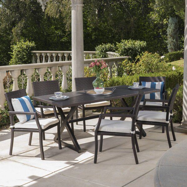 Dolph 7 Piece Dining Set with Cushions by Gracie Oaks