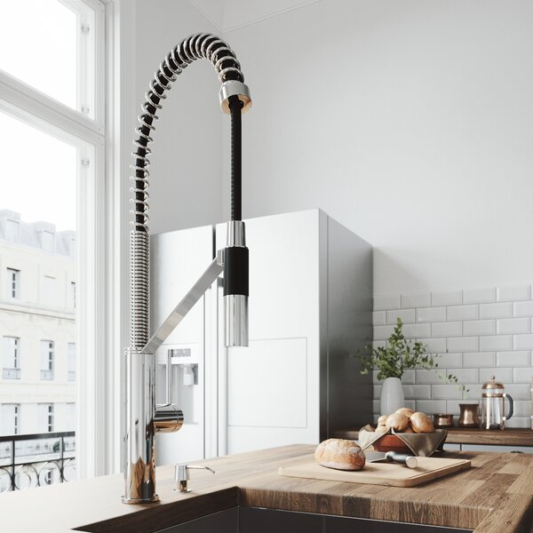 Livingston Magnetic Pull Down Single Handle Kitchen Faucet with Soap Dispenser by VIGO