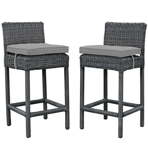 Keiran 27.5 Patio Bar Stool with Cushion (Set of 2) by Brayden Studio