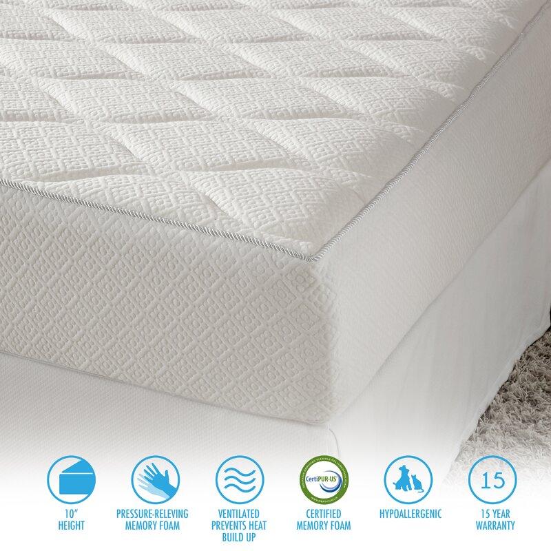 alwyn home 10 firm memory foam mattress reviews wayfair. Black Bedroom Furniture Sets. Home Design Ideas
