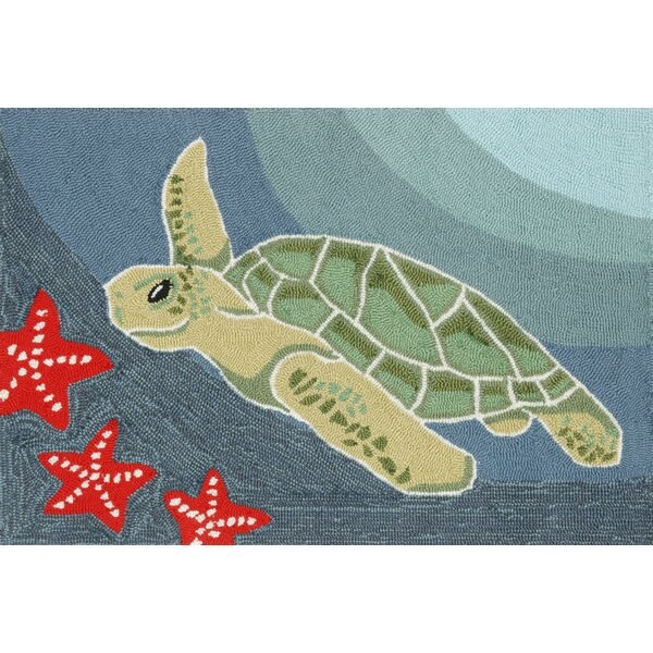 Zilla  Blue Ocean Sea Turtle Indoor/Outdoor Area Rug by Highland Dunes