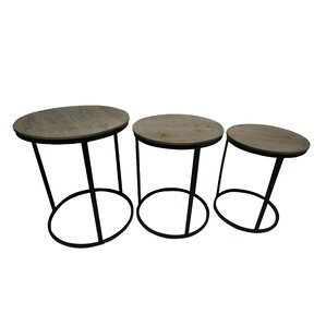 Helena Wood Top 3 Piece Nesting Tables by Wi..