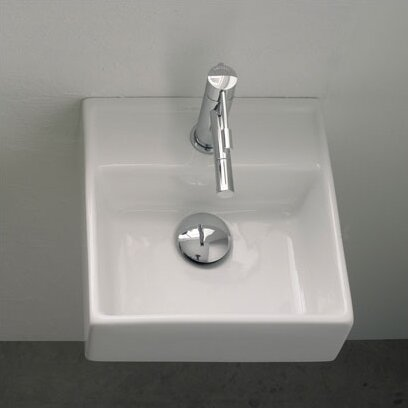 Teorema Ceramic 12 Wall Mount Bathroom Sink with Overflow by Scarabeo by Nameeks
