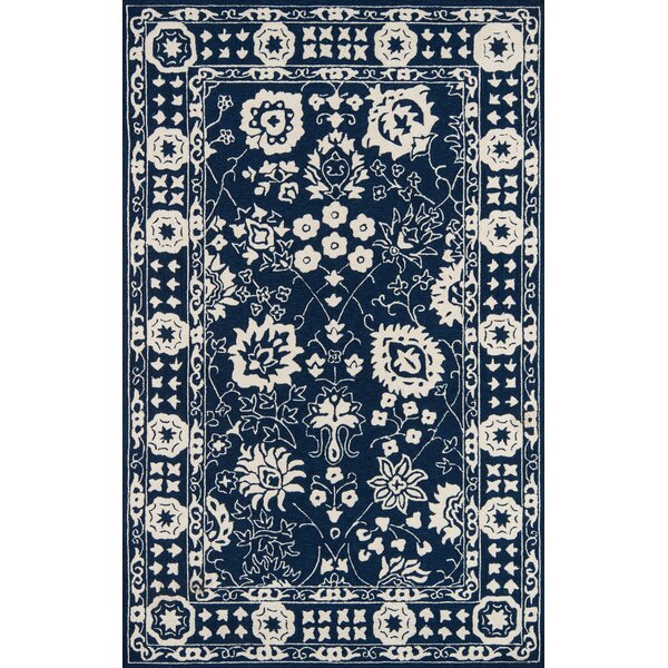 St James Hand-Hooked Navy Indoor/Outdoor Area Rug by Charlton Home