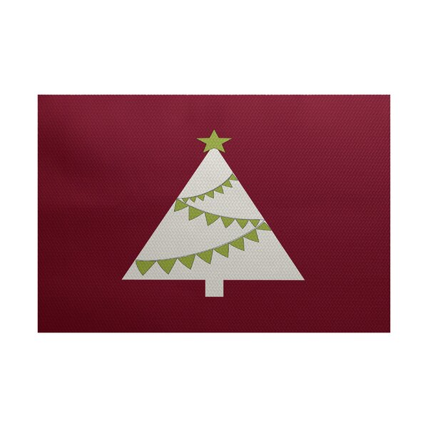 Christmass Tree Cranberry Indoor/Outdoor Area Rug