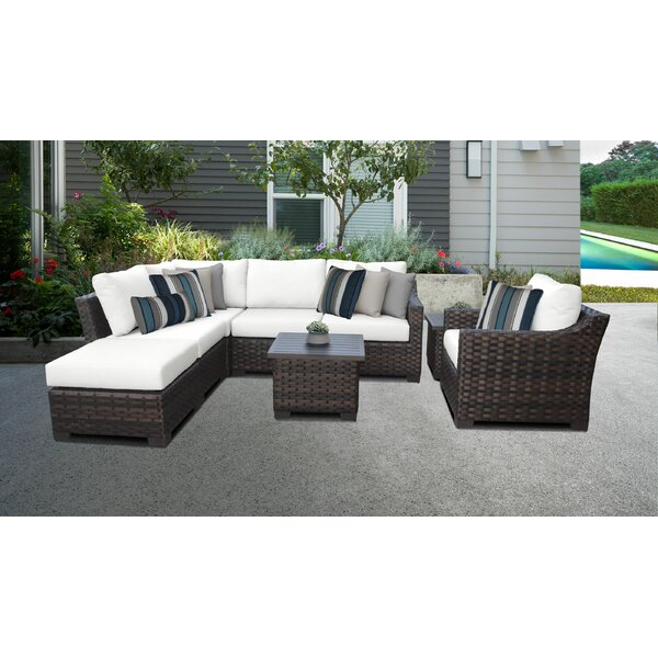 kathy ireland Homes & Gardens River Brook 8 Piece Sectional Seating Group with Cushion by TK Classics