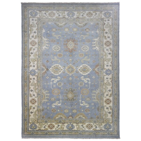 One-of-a-Kind Finadeni Oriental Hand-Woven Wool Blue/Beige Area Rug by Isabelline