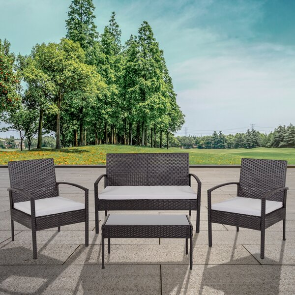 Accomac 4 Piece Rattan Sofa Seating Group with Cushions by Charlton Home