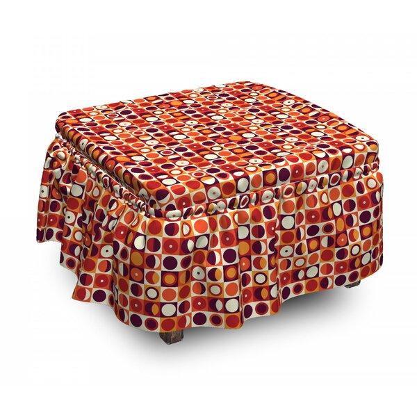 Geometric Sixties Ovals 2 Piece Box Cushion Ottoman Slipcover Set By East Urban Home