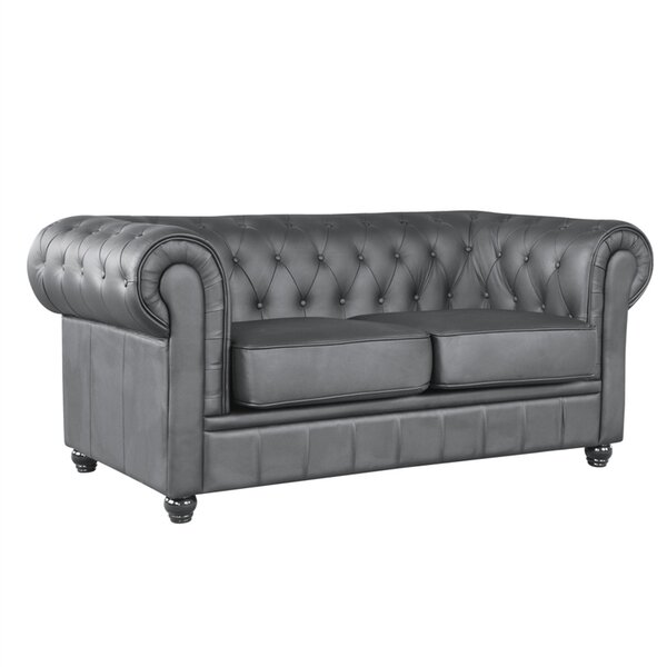 Girard Leather Loveseat By Canora Grey