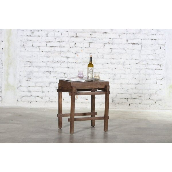 Alcera Wooden Architectural End Table by Gracie Oaks