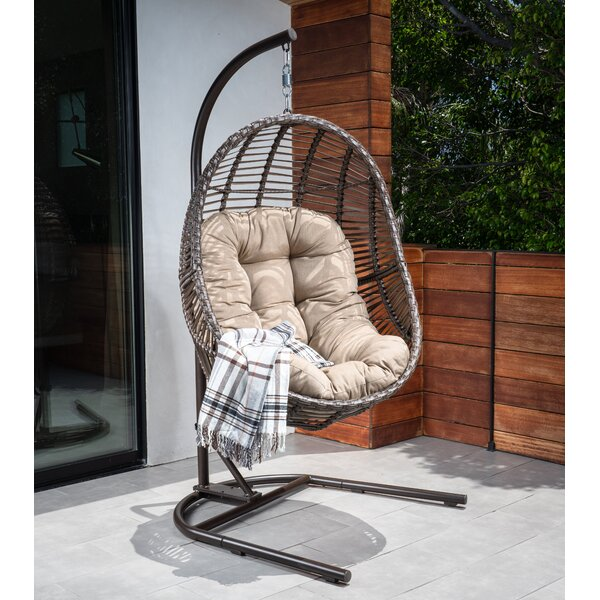 Brannan Wicker Swing Chair with Stand by Bayou Breeze