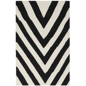 Dhurries Wool Black/Ivory Area Rug