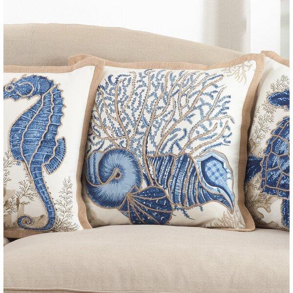 Aloisia Seashells Down Filled Cotton Throw Pillow by Highland Dunes