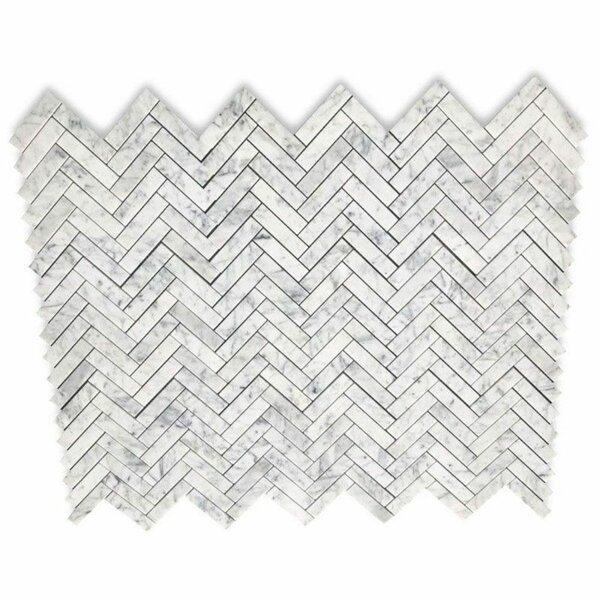 1 x 4 Marble Chevron Mosaic Wall & Floor Tile