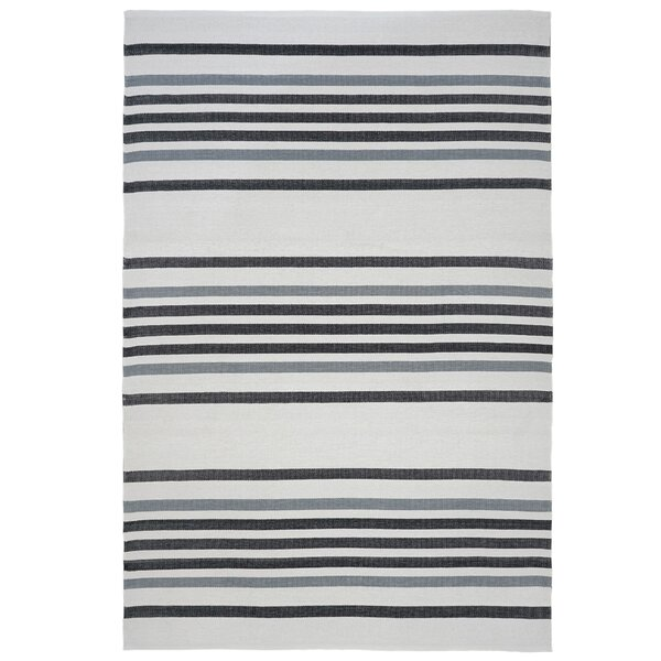 Hunnicutt Stripe Black/Gray Indoor/Outdoor Area Rug by Highland Dunes