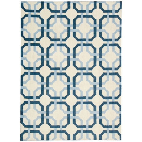 Artisanal Delight Groovy Grille Sky Area Rug by Waverly