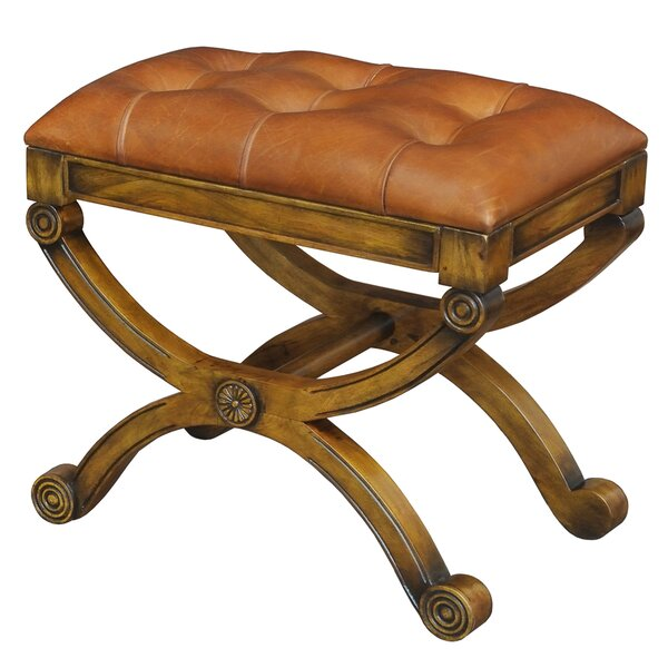 Empire Leather Accent Stool by Sarreid Ltd