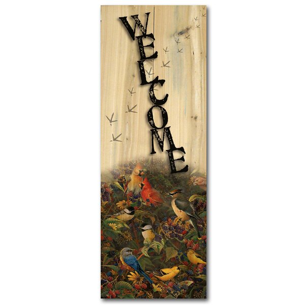 Welcome Berrybush Songbirds Graphic Art Plaque by WGI-GALLERY