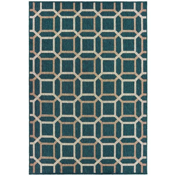 Berryville Tile Work Blue/Gray Indoor/Outdoor Area Rug by World Menagerie