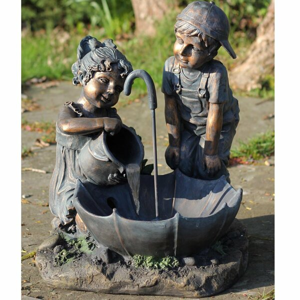 Polystone Children with Umbrella Outdoor Water Fountain by Northlight Seasonal