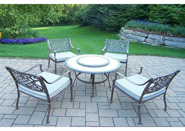 Stone Art 5 Piece Dining Set with Cushions by Oakland Living
