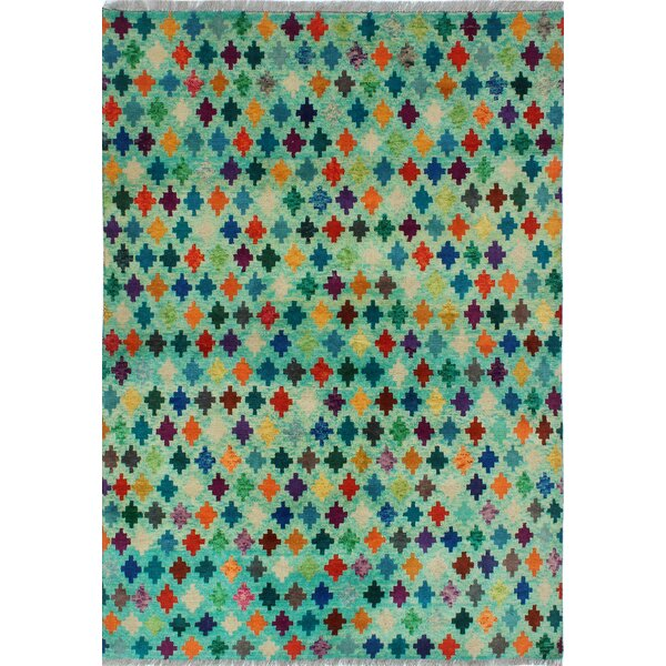 Merchant Hand-Knotted Wool Green Area Rug by Bloomsbury Market