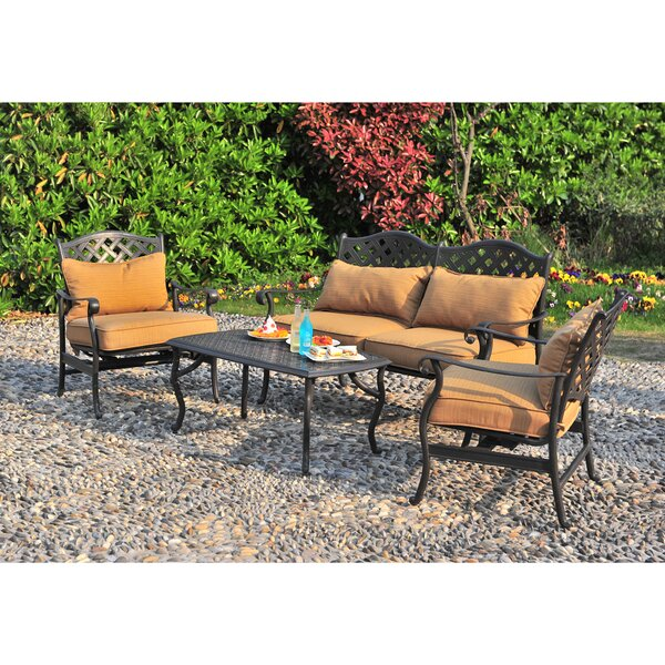 Largemont 4 Piece Sofa Set with Cushions by Sunjoy
