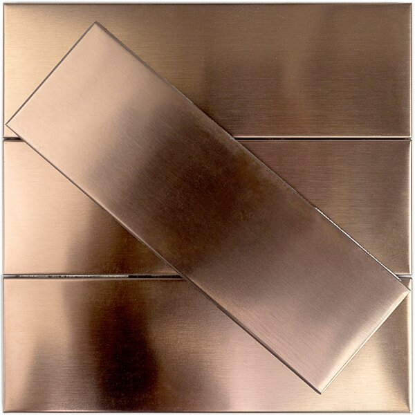 2 x 10 Metal Subway Tile in Copper by Splashback Tile