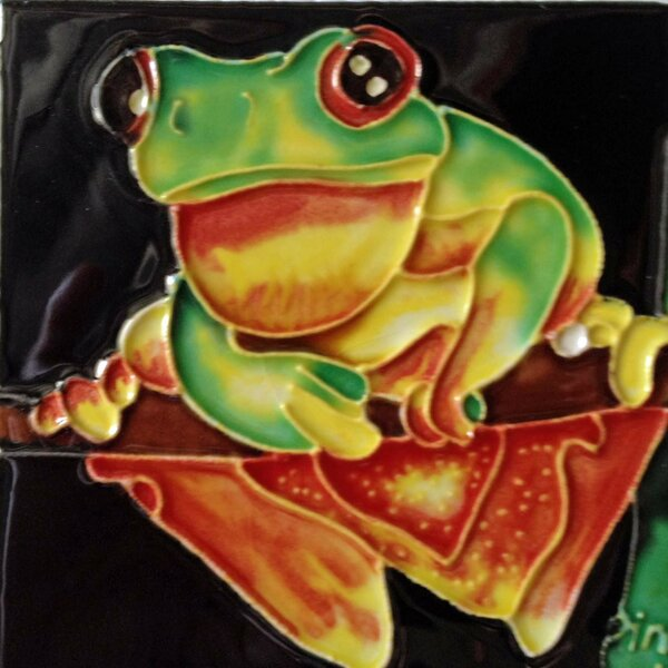 Yellow Belly Frog On Branch Tile Wall Decor by Continental Art Center