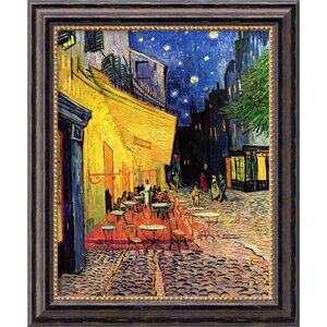 'Cafe Terrace at Night' by Vincent Van Gogh Framed Painting Print by Amanti Art