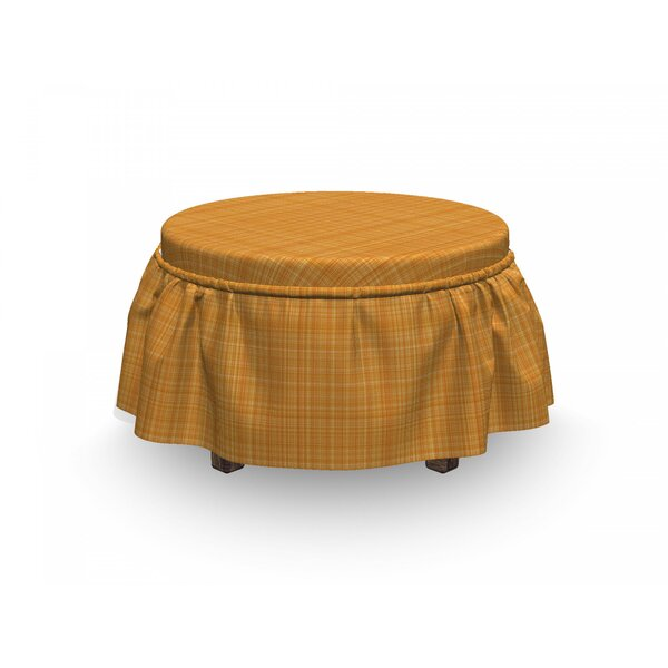 Striped Abstract Texture 2 Piece Box Cushion Ottoman Slipcover Set By East Urban Home
