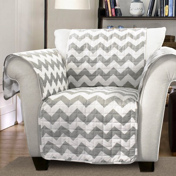 Primey Chevron Box Cushion Armchair Slipcover by Latitude Run