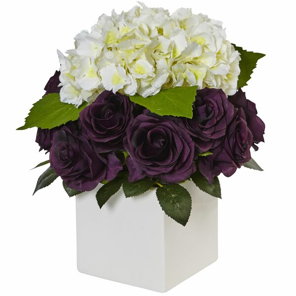 Silk Hydrangea and Purple Rose Mixed Floral Arrangement in Planter by House of Hampton