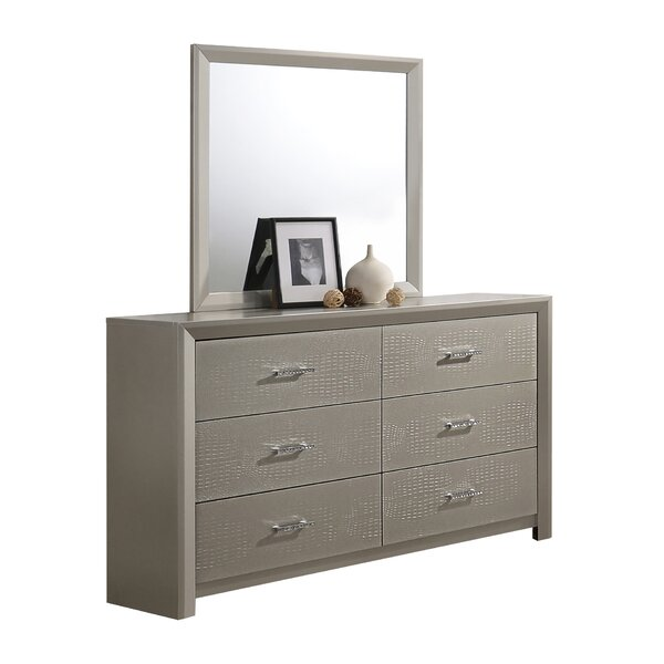 Whitley 6 Drawer Double Dresser with Mirror by Mercer41